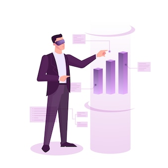 Stock market web banner  concept. idea of finance investment and financial growth. commerce and economy, businessman analyzing data graph.  illustration in cartoon style