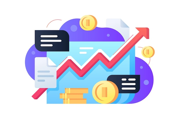 Stock market with coins illustration. red increasing line flat style. financial chart. data analysis and business concept. isolated
