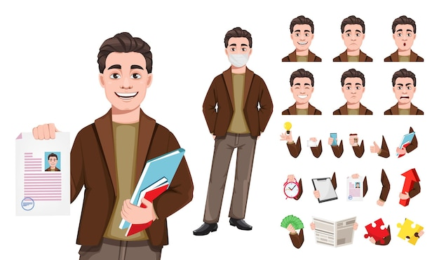 フラットスタイルの実業家の漫画のキャラクターのストック