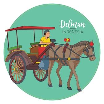 Запасы delman, традиционные перевозки джакарты, индонезия.