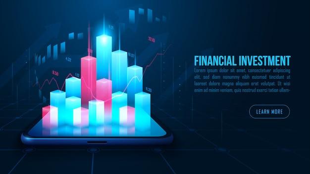 График торговли акциями или форекс на смартфоне в футуристическом фоне концепции