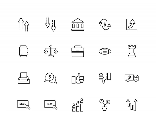 Stock quotes related  line icons