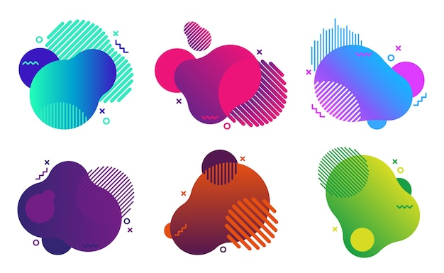 Stock set of vibrant gradient colorful abstract elements.