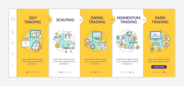 Stock trade strategies onboarding vector template. responsive mobile website with icons. web page walkthrough 5 step screens. intraday, swing, pairs trading color concept with linear illustrations