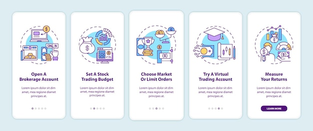 Stock trading steps onboarding mobile app page screen with concepts. open account, setting budget walkthrough 5 steps graphic instructions.