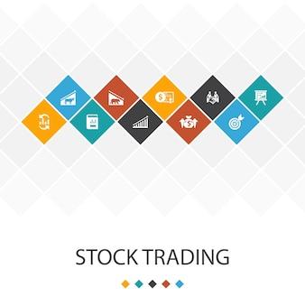 주식 거래 유행 ui 템플릿 infographics concept.bull 시장, 곰 시장, 연례 보고서, 대상 아이콘