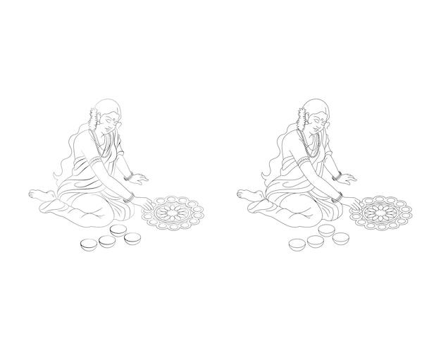 Stock vector artwork of indian lady making rangoli for diwali pongal or onam