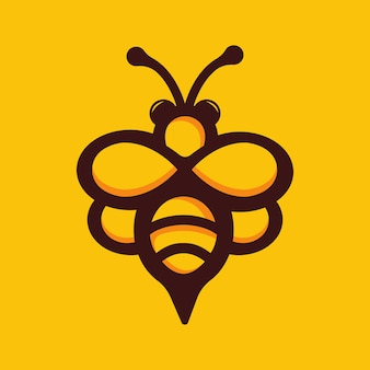 Stock vector cute bee mascot logo illustration.