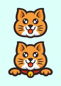 株式ベクトルかわいいオレンジ色の猫マスコットロゴセット