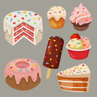 Stock vector delicious sweets and cake with rainbow sprinkles element set collection