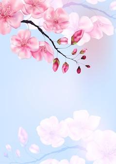 Складе векторные иллюстрации на день святого валентина или японские весенние открытки с ветвями сакуры. весной и летом ботанический шаблон вишневых цветов для веб-сайта, свадьбы или поздравительной открытки.