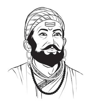 Maharashtra 인도에서 chatrapati shivaji maharaj maratha 일족의 스톡 벡터 일러스트 레이 션