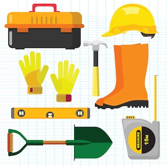 Stock vector illustration set isolated icons building tools repair, construction buildings