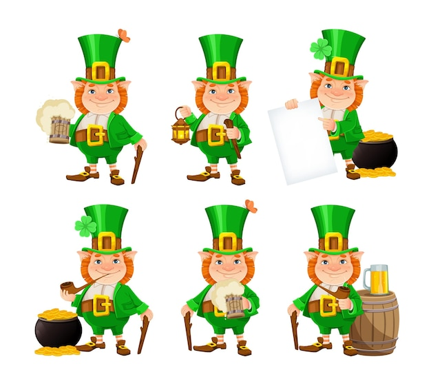 Stock vector leprechaun. happy st patrick's day