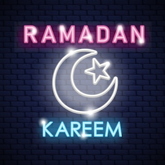 Stock vector ramadan kareem neon sign design template night