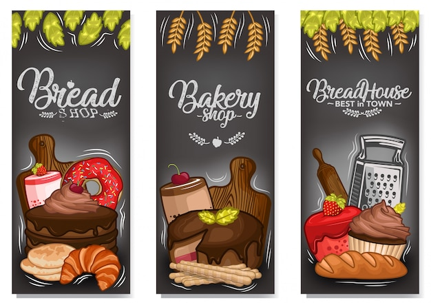 Stock vector set of dessert banner