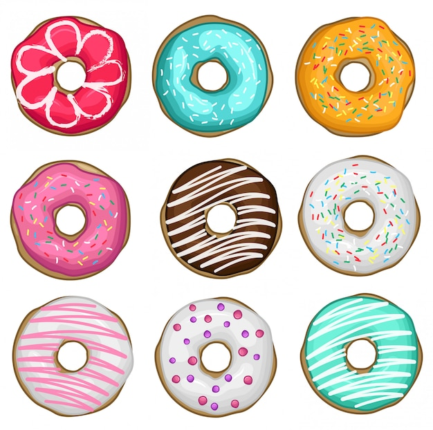 Stock vector set of donuts