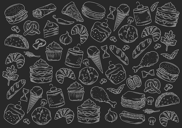 Stock vector set of fast food blackboard style