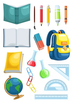 Stock vector set school supplies graphic object illustration