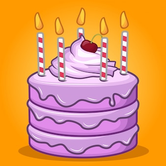 Stock vector sweet birthday cake with candle