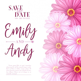 Stock vector of wedding invitation with hibiscus flowers