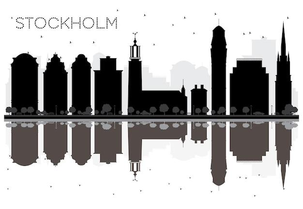 Стокгольм городской горизонт черно-белый силуэт с отражениями. векторные иллюстрации. простая плоская концепция для туристической презентации, баннера, плаката или веб-сайта. городской пейзаж с достопримечательностями.