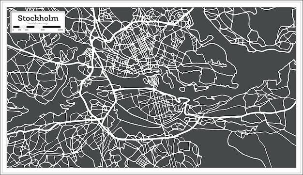 스톡홀름 스웨덴 지도 복고 스타일입니다. 벡터 일러스트 레이 션. 개요 지도.
