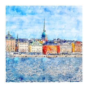 스톡홀름 스웨덴 수채화 스케치 손으로 그린 그림