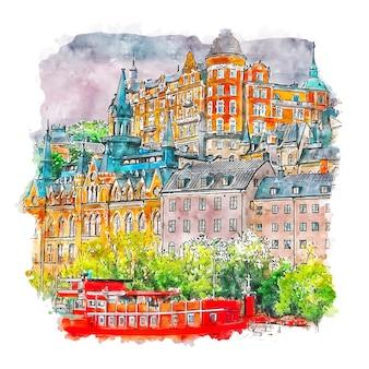 Стокгольм швеция акварельный эскиз рисованной иллюстрации