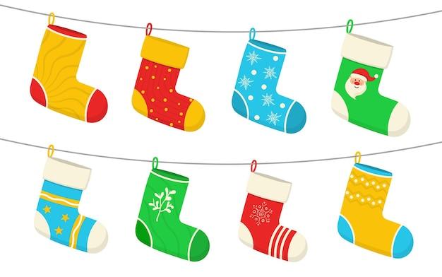 Чулки новогодние носки новогодний дизайн наклейки на рождество висят праздничные украшения подарки