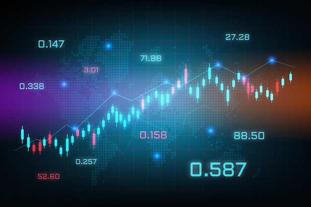 График торговли фондового рынка для исследований и инвестиций с фоном карты мира. концепции диаграммы торговли форекс, отчеты и инвестиции на синем фоне. мировой финансовый бизнес.
