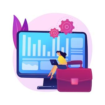 棚卸しプロセス。財務運営。税レポート、管理ソフトウェア、エンタープライズプログラム。簿記と漫画のキャラクターの監査をしている女性