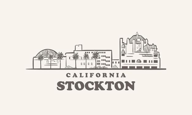 ストックトンのスカイライン、カリフォルニア州が描いたスケッチ大都市