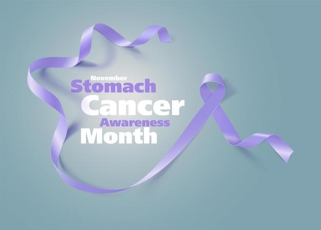 Осведомленность рака желудка каллиграфия дизайн плаката реалистичные барвинковая лента