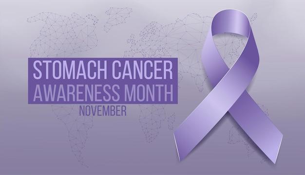 Концепция месяца осведомленности рака желудка. шаблон баннера с голубой лентой барвинка. векторная иллюстрация.