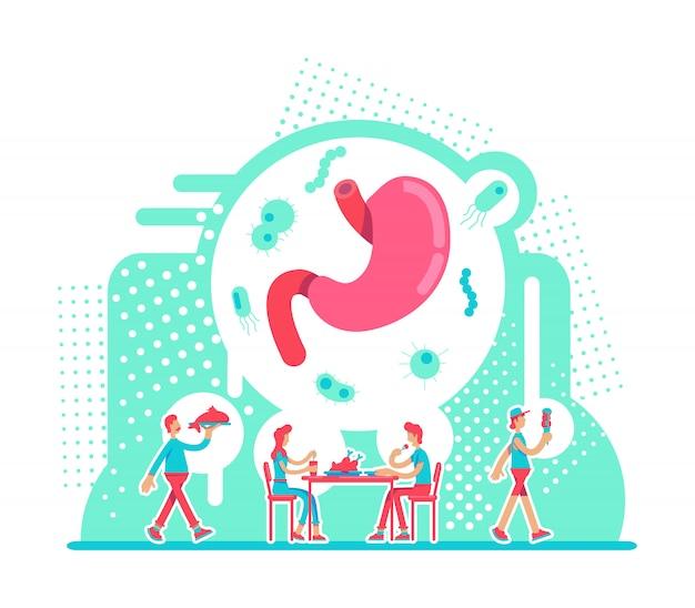 Желудок здравоохранения плоской концепции векторные иллюстрации. питательная диета для мужской и женской пищеварительной системы. здоровый образ жизни 2d героев мультфильмов