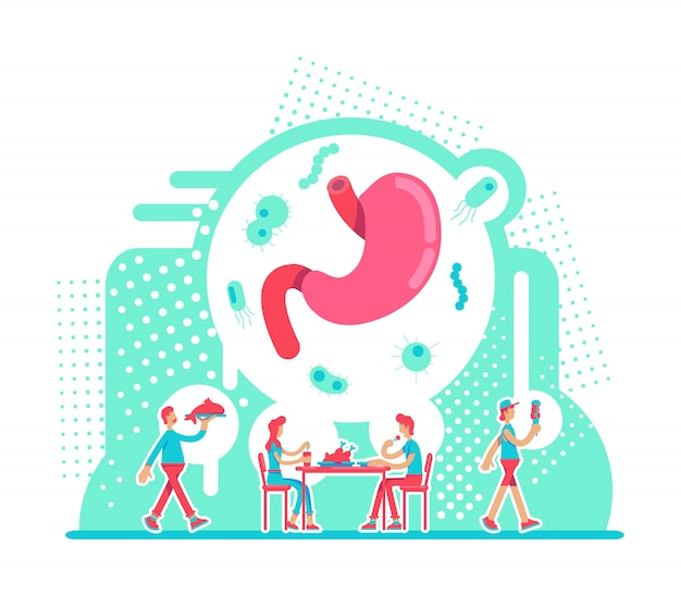 Stomach health care flat concept vector illustration. nutritious diet for male and female digestive system. healthy lifestyle 2d cartoon characters
