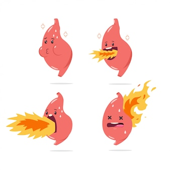 Stomach heartburn vector cartoon character with funny internal organ with fire. illustration set isolated