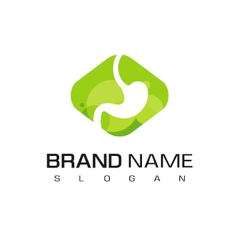Stomach logo design template on green background