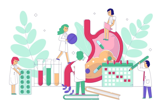 胃の治療の概念ベクトルイラストラインドクターキャラクターは、病気の患者の臓器胃を助けます... Premiumベクター
