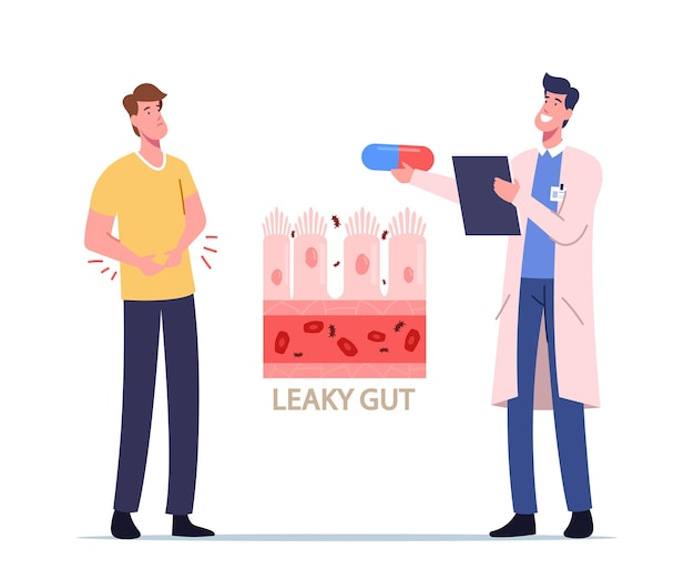 Stomachache, gastroenterology. sick male patient character touching diseased belly suffer of stomach ache causes leaky gut disease