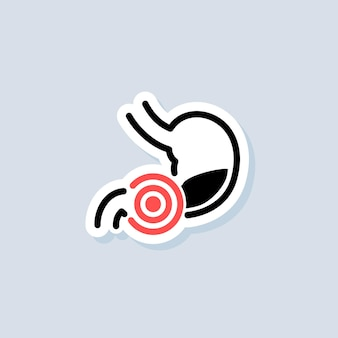 Stomachache sticker. healthy stomach icons. sick stomach logo. stomach ache sign. gastrointestinal icon. vector on isolated background. eps 10.