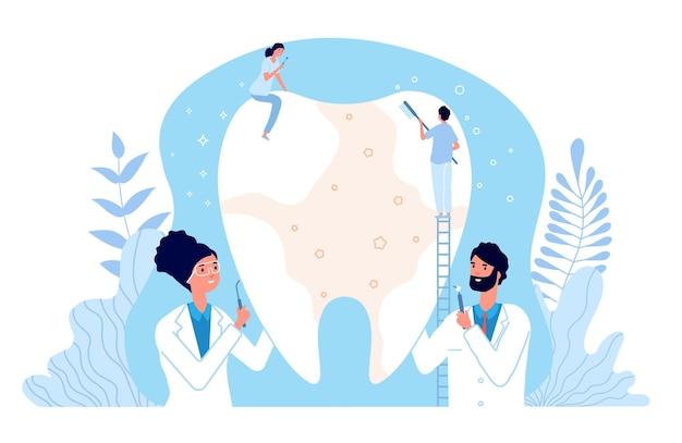 口腔病学の概念。歯を掃除する歯科医。医療歯科手術、ドクターブラッシングまたは虫歯治療。歯科治療のイラスト。歯科医の洗浄歯、医療歯科
