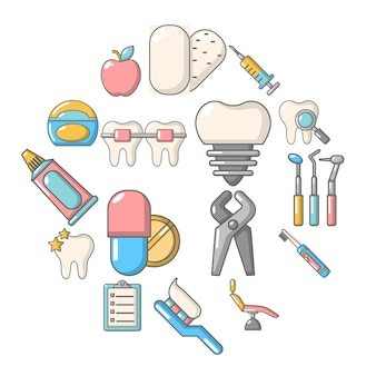 Stomatology dental icon set, cartoon style