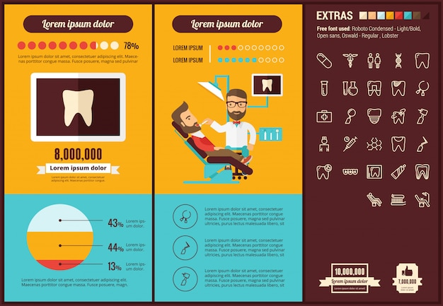 Stomatology flat design infographic template and icons set