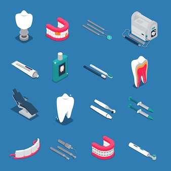 Stomatology isometric colored icons