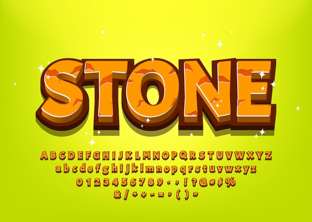 Stone 3d cartoon alphabet for game title or menu vector illustration