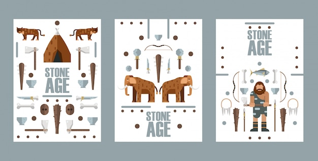 Stone age banner,  illustration. flat style icons of paleolithic era, extinct animals and primitive hunting weapons.