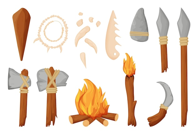 Stone age barbarian tools weapon fireplace and necklace from bones in cartoon style