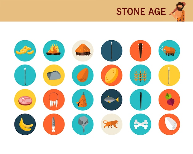 Stone age concept flat icons.